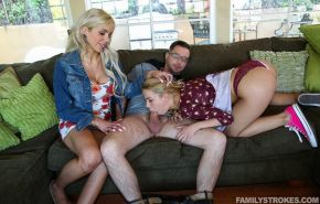 Hot teen Alina West and her boyfriend have a threesome with her step-mom