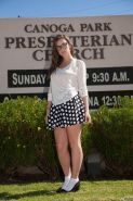 Naughty coed Eden Young shows you up her skirt at a church