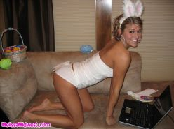 Pictures of Melissa Midwest dressed as the easter bunny