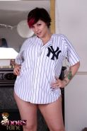 Tattooed slut Dors dresses up in baseball outfit