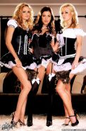 Pictures of Kayden Kross being naughty with 2 other french maids