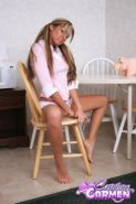 Blonde teen Craving Carmen gets off on the kitchen table