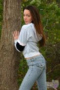 Pictures of teen Rae 19 stripping to her underwear in the woods