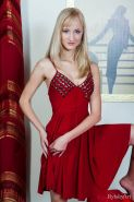 Gorgeous blonde Zemira A strips out of her red dress and offers you her tight pussy