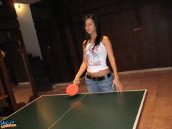 Pictures of Hailey Hardcore playing a game of strip ping pong