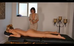 Bryci gives a hot naked lesbian massage to Katie Banks