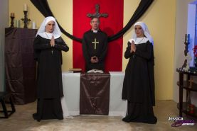 Jessica and Nikki are two nuns who go to town on the priest