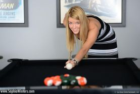 Sophia Winters loses a game of pool and has to strip it all off masturbate