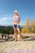 Sexy country girl Naughty Allie strips outside in the desert