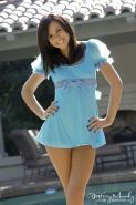 Destiny Moody lifts up her blue dress and slides down her panties