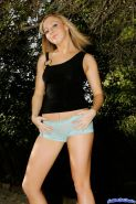 Pictures of blonde teen girl Jetta stripping to her shoes outside