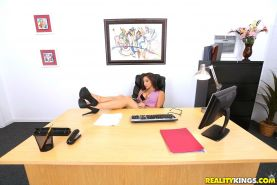Brunette hottie Abella Danger gets fucked in her office by the janitor
