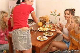 Teen lesbians play with their food