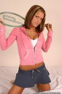 Pictures of teen model Karen Dreams getting kinky with a tennis racket