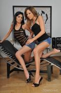 Horny lesbians Anita and Pure get each other off with a strap-on