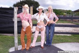 Rachel, Karen and Marissa are three hot cowgirls who love to fuck on the farm