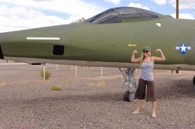 Pictures of Alison Angel flashing on an air force base
