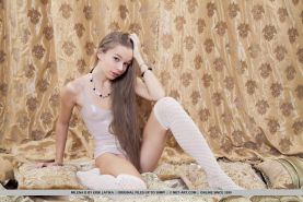 Pretty teen Milena D spreads her legs in stockings