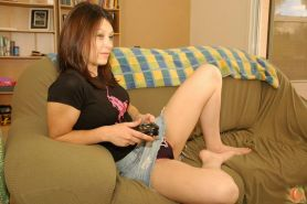 Pictures of wet peach Marie playing a sexy video game