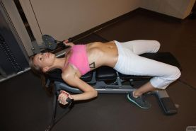 Geri Burgess shows how flexible she is at the gym