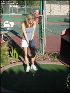 Pictures of Taylor Little and Jordan Capri playing kinky golf