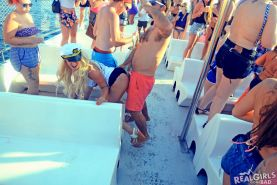 College coeds have a party on a boat during spring break