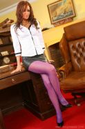 Pics of Samantha K in a tight leather miniskirt and purple pantyhose.