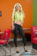 Blonde babe Alix Lynx strips for you in a retro 50s diner