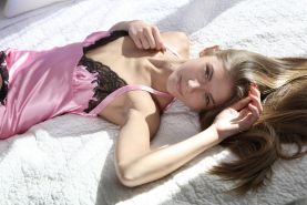 Stunning blonde teen Krystal Boyd puts on black stockings and pink lingerie just for you