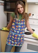 Josie model in the kitchen with rubber gloves and socks