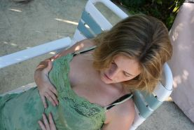 Pictures of Samantha Gauge rubbing herself outside