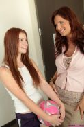 Redhead teen Ava Sparxxx has a threesome with step-mom Syren Demer