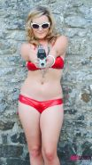 Jodie Gasson strips out of her red bikini outside