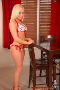 Pictures of a blond teen getting out of a lingerie bikini
