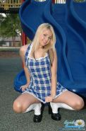 Pictures of teen Sandy Summers masturbating in the park