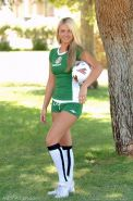 Pictures of Alison Angel having some fun playing soccer