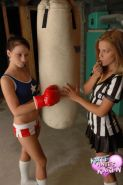 Pictures of Karen and Kate working on their fighting moves