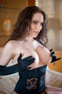 Pics of Katie Banks teasing with Black Satin Gloves