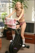 Ashley works out in her socks and underwear