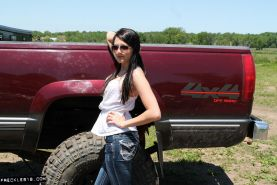 Hot country girl Freckles 18 teases with her red pickup truck