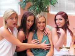 Alexia Rae and her college friends give a reverse gangbang