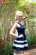 Hot coed Alli Rae strips for you with her tennis raquet