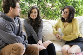 Hot teen Gia Paige has a threesome with her boyfriend and teacher
