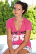 Pictures of Natasha Belle flashing her titties in a pink top