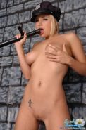 Pictures of teen model Sandy Summers being one bad-ass cop
