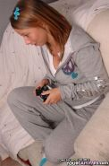 Pictures of teen hottie Your Caitlynn playing some video games
