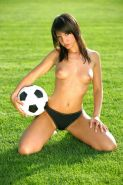 Pictures of Monika\'s Dreams playing soccer nude