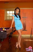 Pictures of teen model Miss Luana playing a naughty game of pool