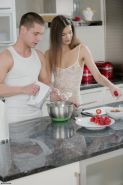 Candice Luka gets seduced with food in the kitchen