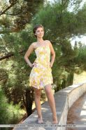 """Short-haired girl Galina A gets naked outside in """"Coentra"""""""